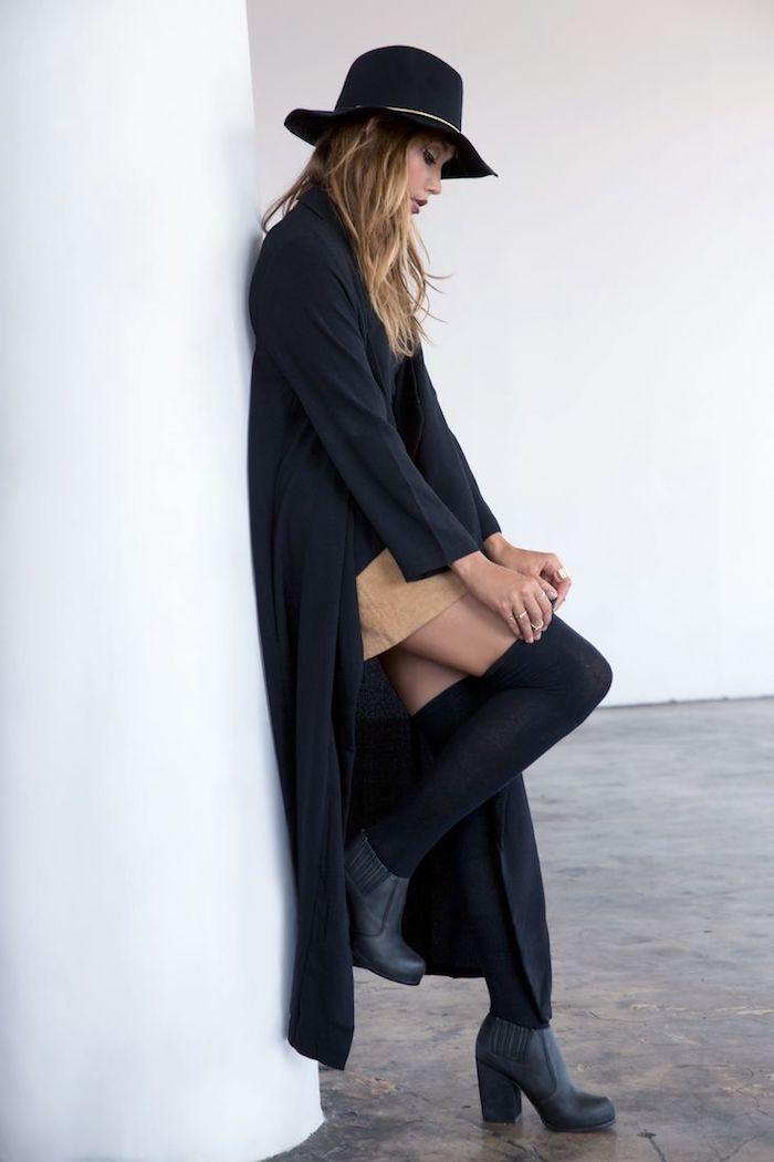 tendance chaussure en cuir noir avec talons hauts, jupe camel courte avec gilet long noir