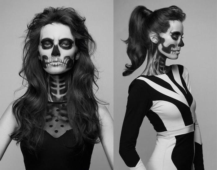 déguisement femme halloween, robe élégante noire et noir et blanc, visage traits de squelette noir et blanc, dessign terrifiant graphique
