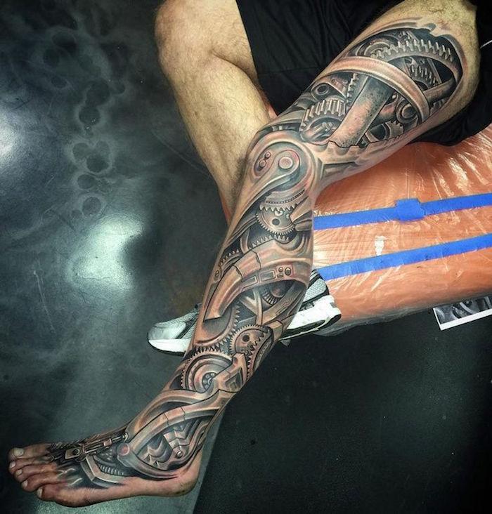 tatouage homme jambe entière mécanique 3d