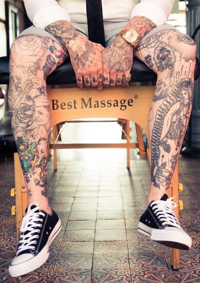 tatouage homme cuisse et tibias et tatouages jambes