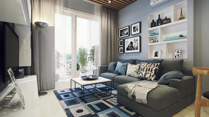 idée déco salon, tapis patchwork, étagère murale blanche, table basse industrielle, grand canapé gris
