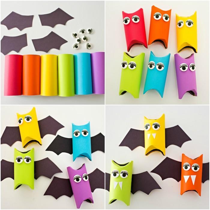 activités manuelles maternelle, bricolage halloween avec rouleau de papier toilette coloré, de syeux mobiles et ailes et dents en papier