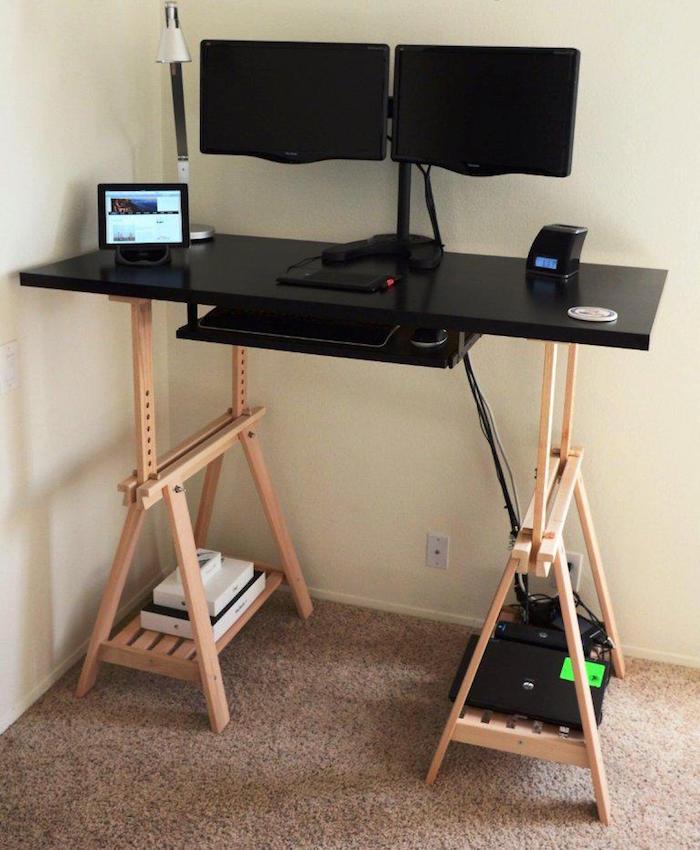 bureau atelier gamer simple ikea plan de travail sur treteaux