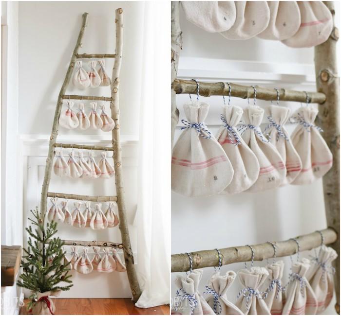 calendrier de l avent pour noel, en echelle decorative en branches de bois brut, petits sacs avec cadeaux et gourmandises