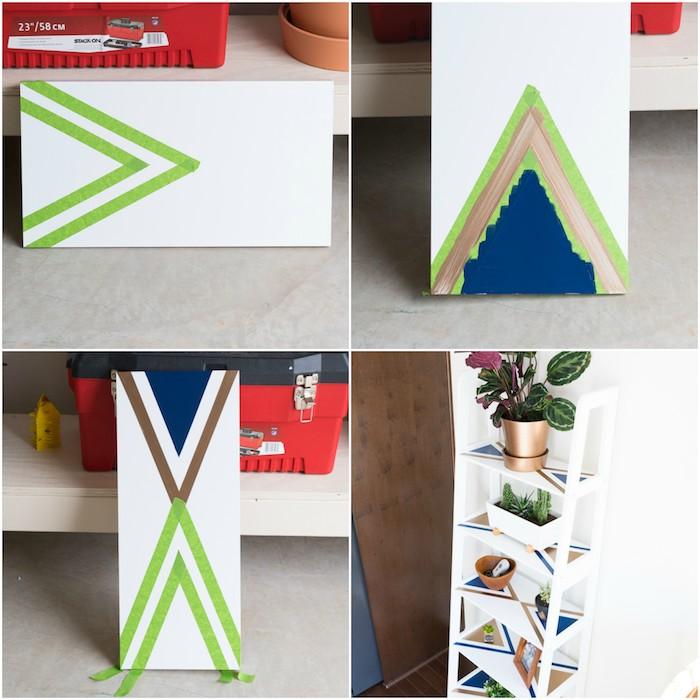 idée de technique pour customiser une etagere echelle avec de la peinture pour créer des motifs géométriques, rangement pour plantes