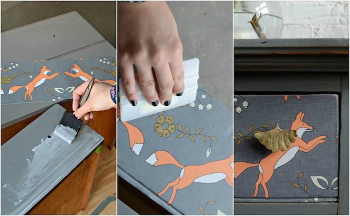 idée comment decorer un meuble avec du papier peint, motif renard sur un commode vintage gris, technique effet patine
