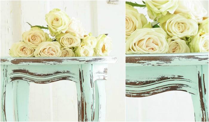 idée comment patiner un meuble, table basse repeinte en vert menthe, deco campagne chic, bouquet de roses blanches