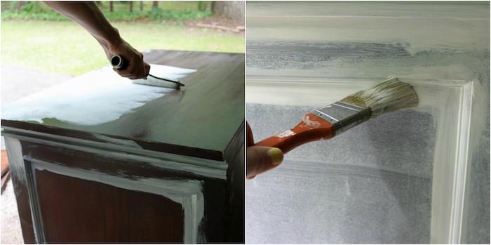 comment peindre un meuble en bois, peinture blanche, deux couches pour créer une patine sur un commode vintage
