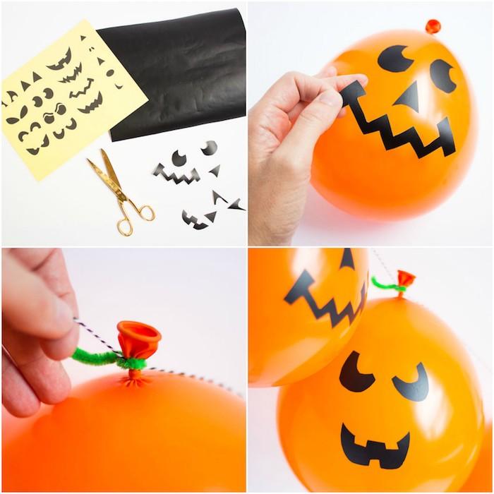 décoration halloween a fabriquer soi meme, technique ballons orange avec des silhouettes bouche, nez et des yeux jack o lantern