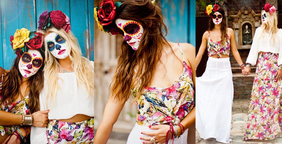 deguisement adulte femme, sugar skull, maquillage coloré, couronne de fleurs, et tenue à imprimé floral