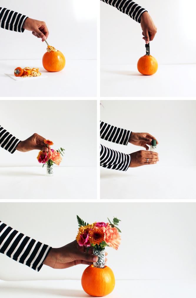 idée de centre de table original avec citrouille miniature creusée avec un bouquet de fleurs dedans, diy mariage deco
