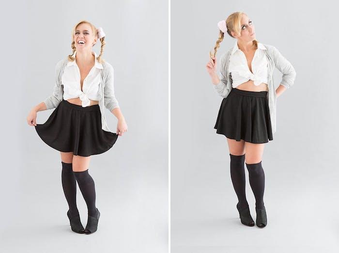 idée de costume britney spears, deguisement halloween femme, jupe noire courte, chaussettes hautes, chemise blanche et gilet gris, queues de cheval
