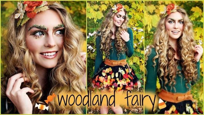 idée de costume de fée, nymphe des forets, cheveux bouclés, blouse verte, jupe noire courte avec decoration de feuilles, couronne de feuilles mortes