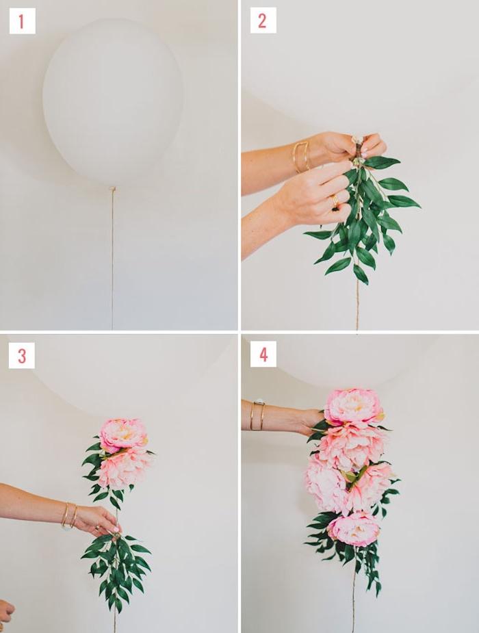 deco mariage a faire soi meme, un ballon blanc avec queue fleurie de pivoines et branches feuillies, tutoriel bricolage facile