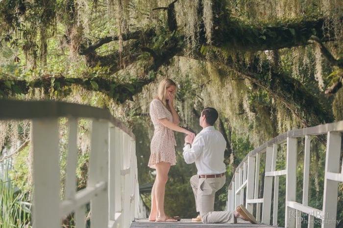 idée de demande en fiancaille, un pont blanc, avec des arbres verts suspendus, femme robe élégante et homme