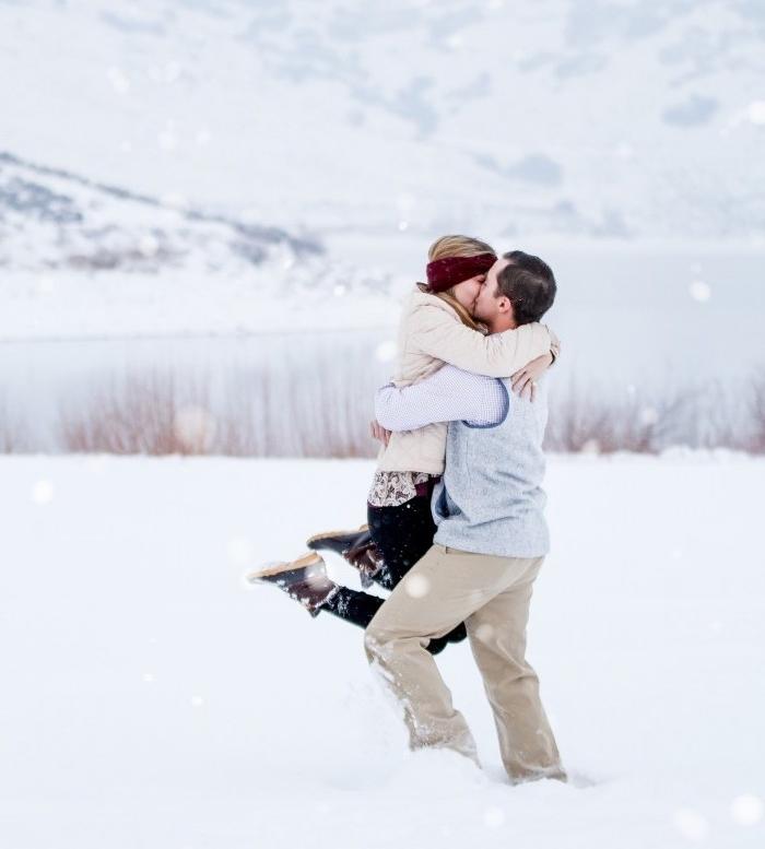 idée surprise mariage dans la neige, idée de proposition fiancaille en hiver, paysage montagne