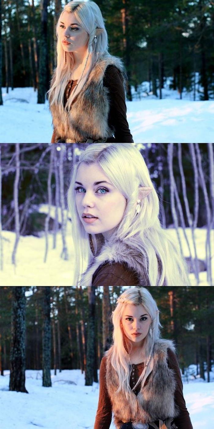 look elf à créer soi meme, cheveux blond polaire, oreilles pointues, blouse marron, gilet de fourrure,