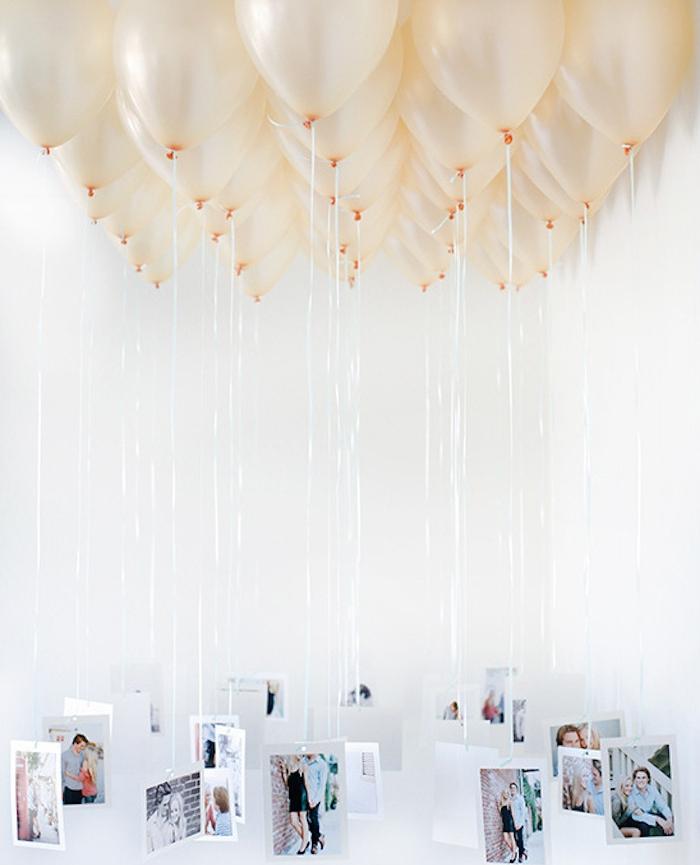 idée de suspension table de mariés, ballons avec des photos attachées au bout des fils, deco mariage a faire soi meme