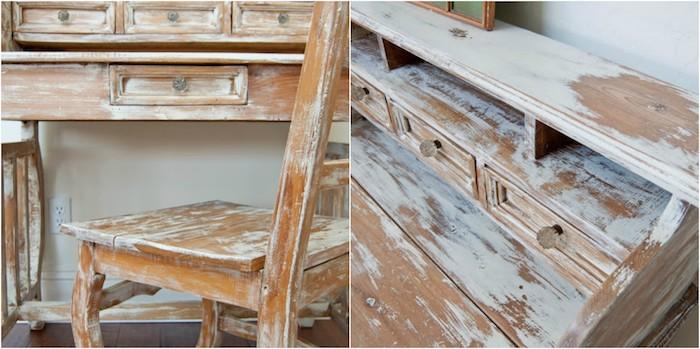 exemple de meuble patiné, bureau et chaise repeinte de peinture blanche avec bois à la surface