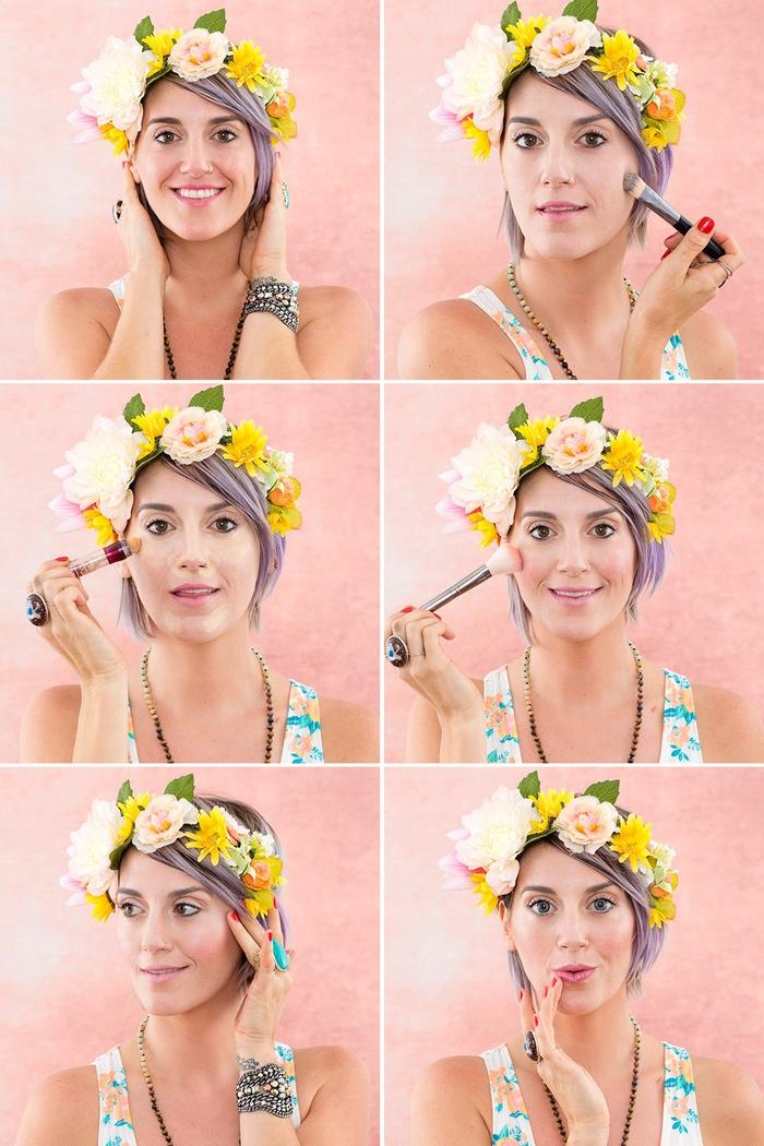 un tuto maquillage facile halloween qui vous apprend à recreez le look couronne de fleurs sur snapchat