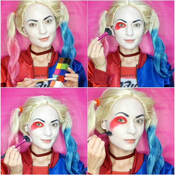 comment réaliser un maquillage pour halloween original et burlesque, maquillage artistique inspiré de harleu quinn