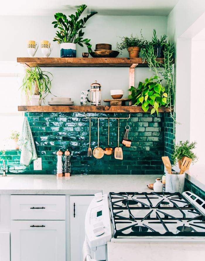idée comment repeindre la crédence en vert d eau, façade cuisine blanche, poignées vintage, étagère rustique en bois brut, plantes, ustensiles couleur cuivre