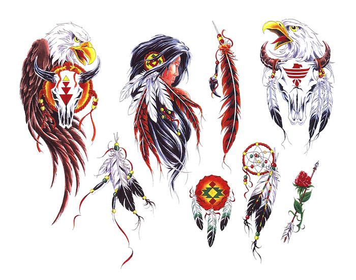 tatouage indien, modèles de dessins en couleurs à design amérindien, dessin homme indien aux cheveux longs avec plumes blanc et rouge