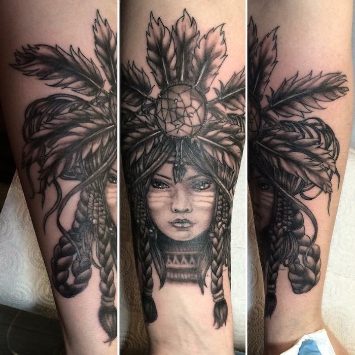 modèle de tattoo pour femme et homme, art corporel sur le bras à motifs indiens avec tête de femme au maquillage ethnique
