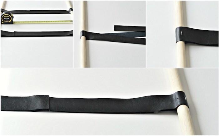tuto comment assembler l echelle decorative, fixer les bandes en simili cuir sur les manches a balai
