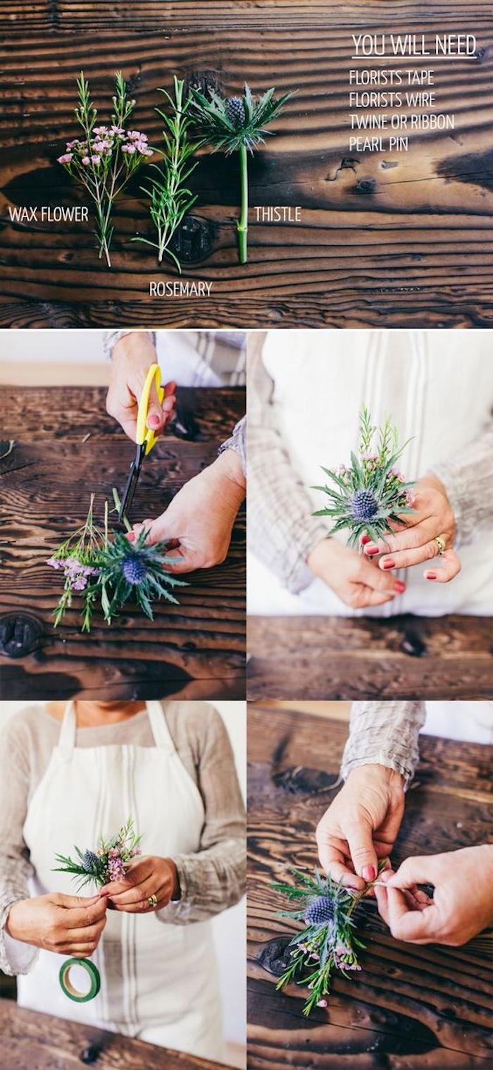 idée tutoriel pour fabriquer une boutonniere soi meme, fleurs colorés, ruban fleuriste et ficelle, projet de bricolage simple