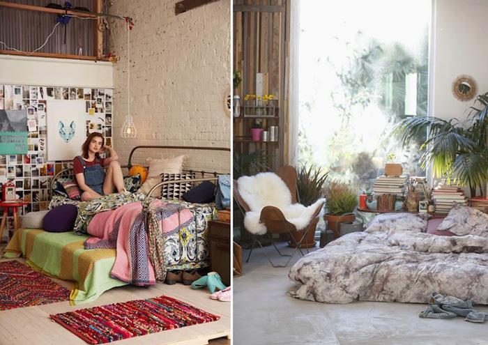 deco chambre ado, corde lumineuse de style rustique, lit couvert de plaids et coussins moelleux