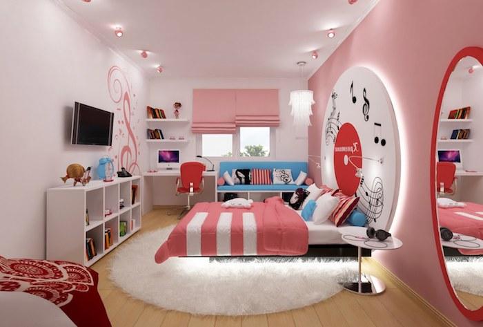 déco chambre ado fille, pièce aux murs rose et plafond blanc, meubles en bois peints blanc