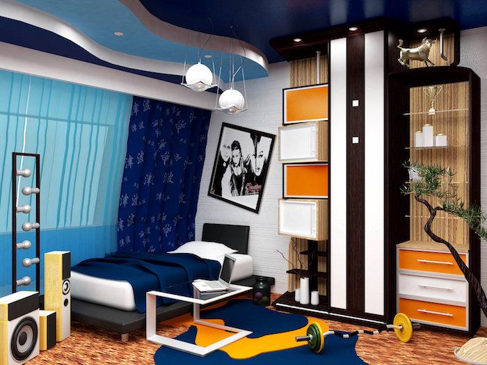 meuble chambre enfant, tapis orange à lignes marron et blanc, lampes suspendues à finitions métalliques
