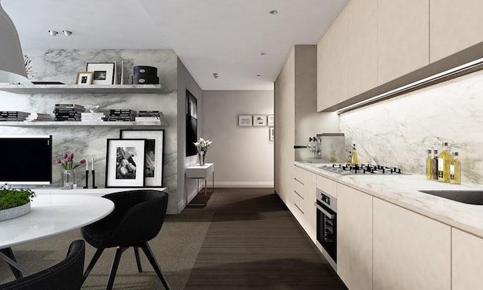 astuce rangement cuisine, mur à design marbre gris avec étagères blanches et accessoires blanc et noir