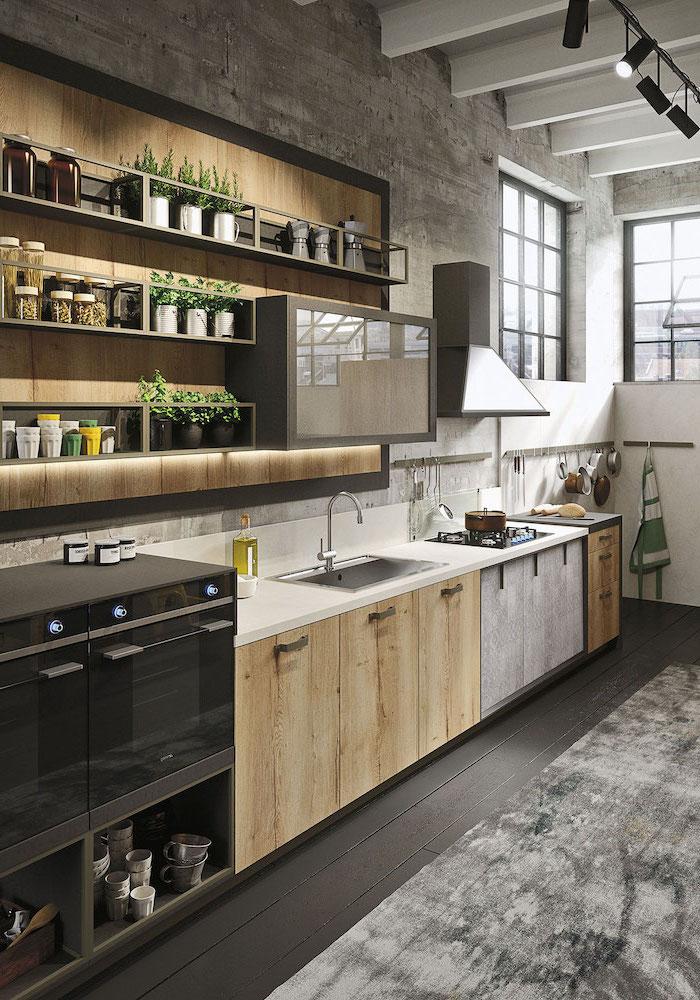 1001 astuces comment am nager une cuisine en longueur - Deco cuisine blanc et bois ...