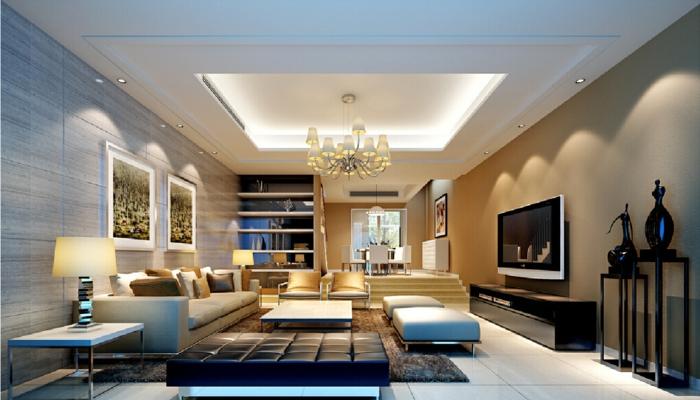 idee deco salon cocooning, faux plafond lumineux avec plafonnier baroque, tapis moderne, carrelage aspect bois clair