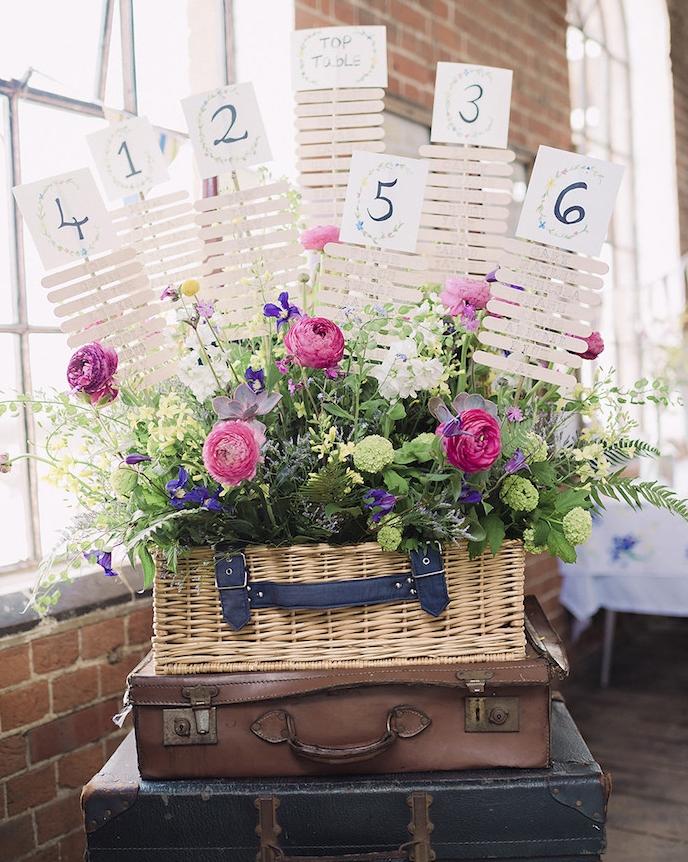 plan de table deco mariage vintage campagne, malles en cuir superposées, chiffre de table en papier et batonnets de glace avec les noms des invités par table, fleurs dans un panier