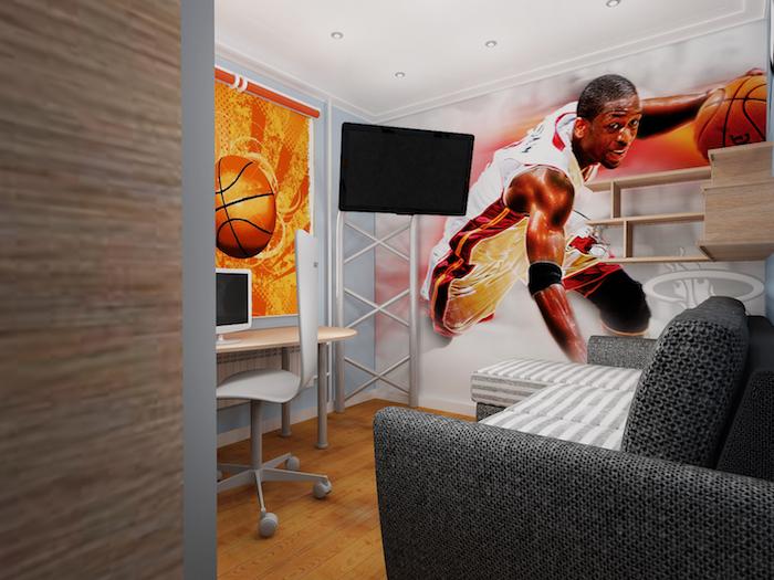 idee deco chambre garcon, sticker murale d'inspiration sportive NBA, bureau et revêtement de sol en bois