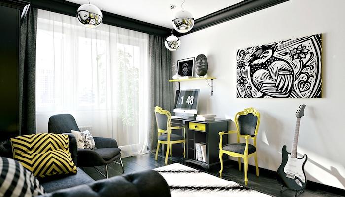 deco chambre ado garcon, aménagement pièce en blanc et noir avec accessoires jaunes, chaise jaune et noire