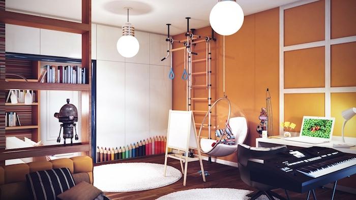 deco interieur, meubles en bois foncé, échelle décorative en bois, lampes suspendues style industriel