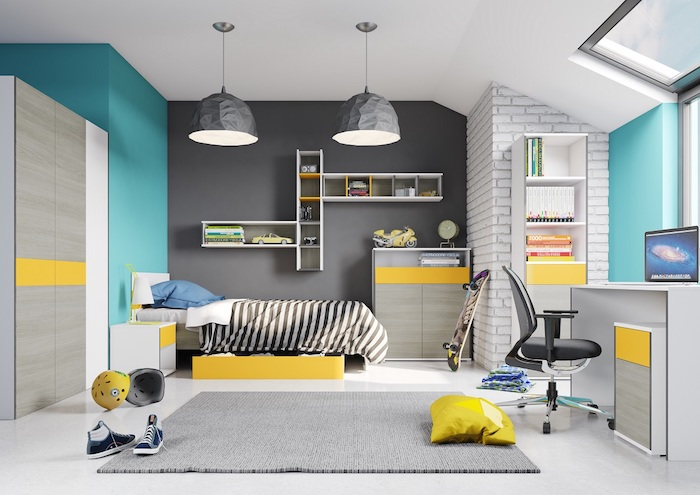 deco chambre ado garcon, papier peint imitation briques blanches, lampes suspendues en gris motifs origami
