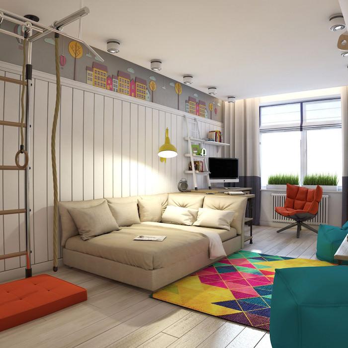 meuble chambre enfant, revêtement de mur en bois peint en blanc, tapis à motifs géométriques multicolore