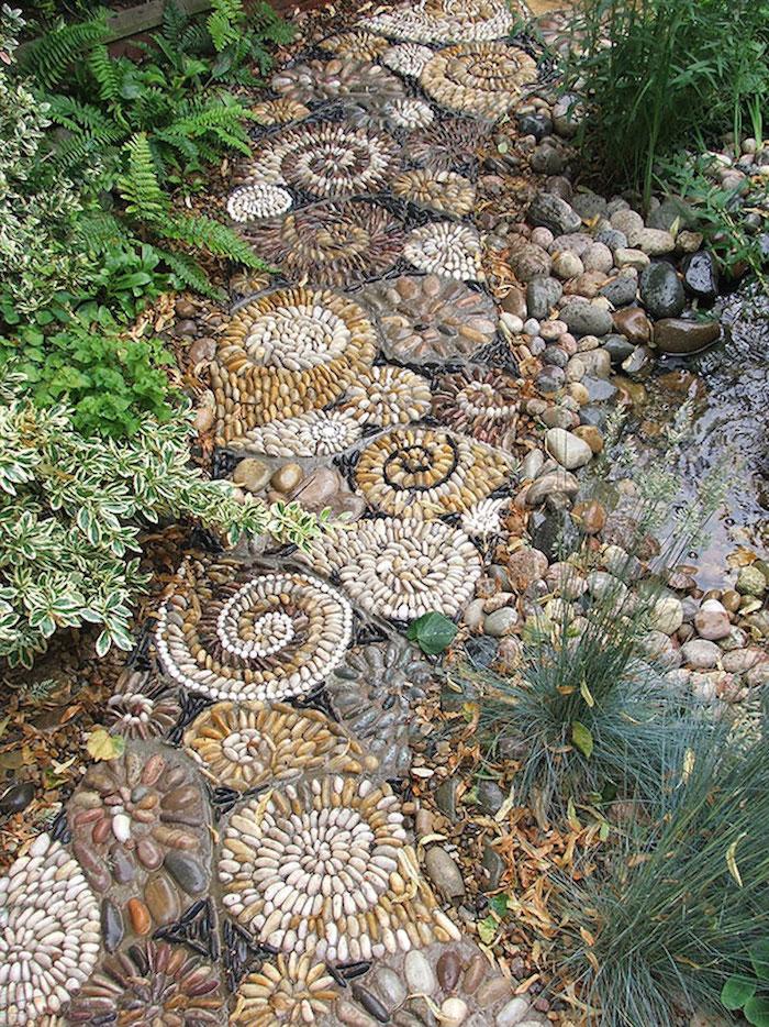 bouddha deco exterieur, sentier motifs mosaïque en galets et cailloux avec plantes vertes et eau