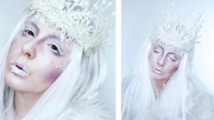 la reine de neige, une femme déguisée pour Halloween avec des cils blancs, joues pourpres