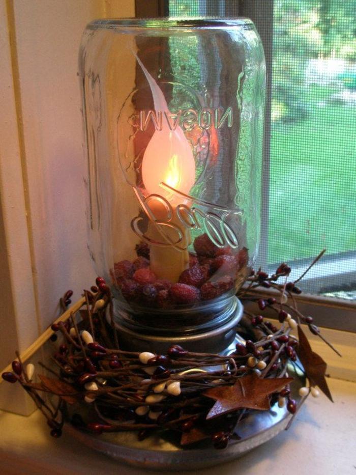 une lampe a poser diy réalisée avec un pot en verre recyclé, un support métallique et une bougie led