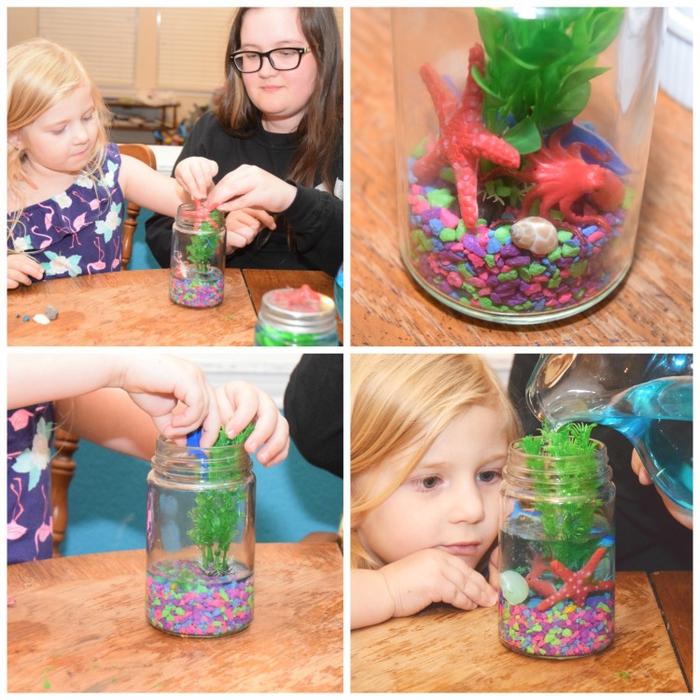 bricolage enfant original pour réaliser un bocal aquarium illuminé par une lampe led collée à l envers du couvercle