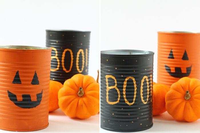 bricolage halloween avec des boites ee conserve vides avec des trous dedans, peinte noire et peinture orange, motif jack o lantern, citrouilles miniatures