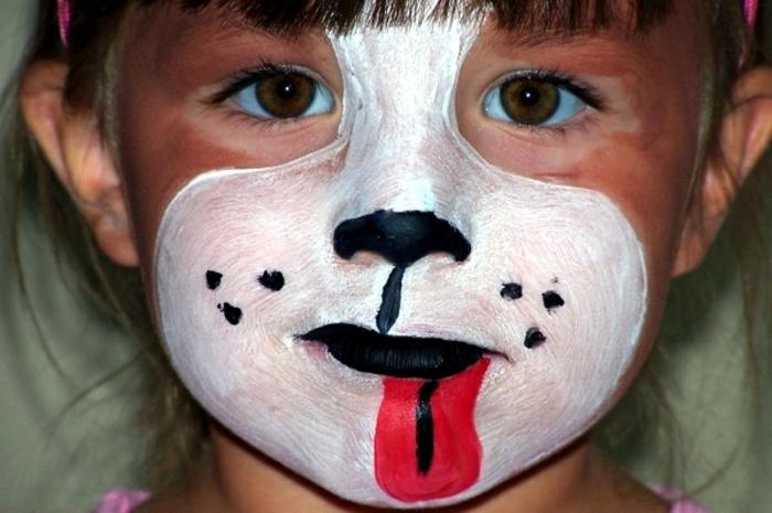 maquillage carnaval, petit garçon avec tête de chien, maquillage facile et amusant
