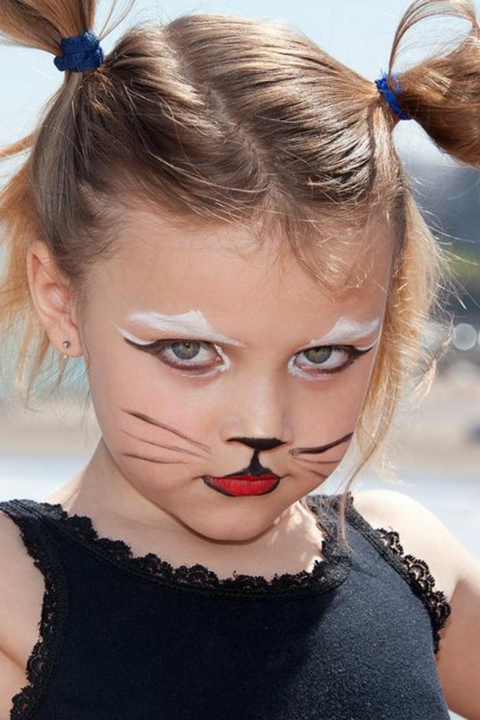maquillage enfants, maquillage facile et malin, tête de souris pour fillette