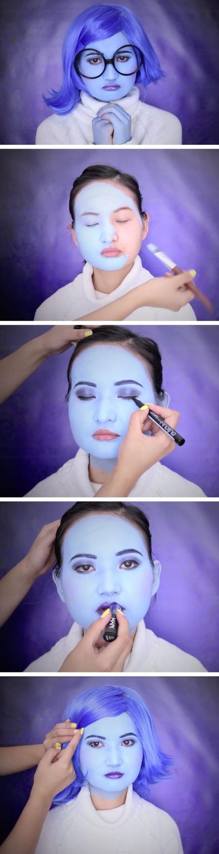 optez pour un maquillage facile halloween inspiré des personnage du film vice-versa